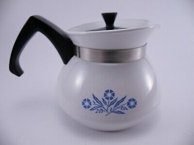 Vintage Corning Ware Blue Cornflower 3 Cup Stove Top Coffee Pot P-103 With Lid