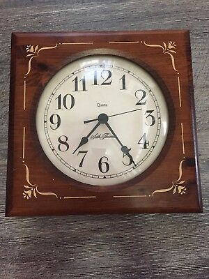 Vintage Seth Thomas Square Wood Framed Wall Clock with Round Face Nice!!
