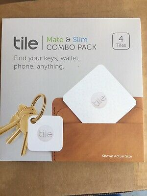 Tile Mate and Slim Combo Pack 4 Pack White Tracker Key Phone Bluetooth