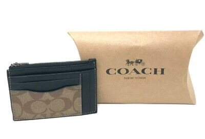 Coach Men's Multiway Zip Card Case Signature Canvas Charcoal Black Wallet F66649