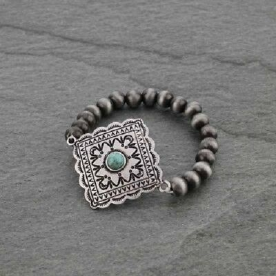 Western Silver-Plated Natural Stone Howlite Concho Navajo Style Stretch Bracelet