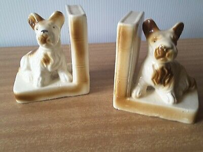 Vintage CERAMIC TERRIER DOGS  Bookends Retro Book Ends Terrier  EXCELLENT COND