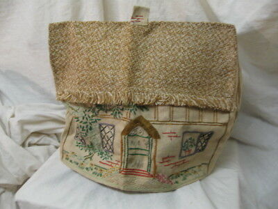 Vintage Embroidered Tea Cosy.quaint Country Cottage.retro.