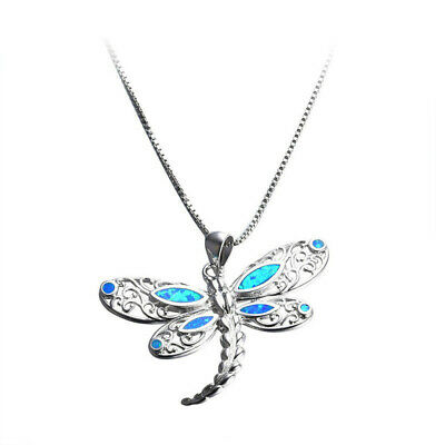 Beautiful Blue Opal Silver dragonfly Pendant Necklace Bridal Wedding Jewelry