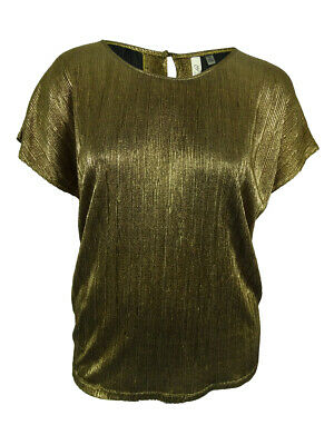 NY Collection Women's Cap Sleeve Metallic Top (2X, Gold)