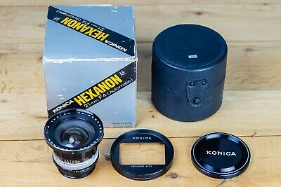 Konica Hexanon 21 lens with box, case and hood