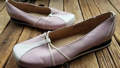 Pink cream leather lined flats 36 7 ballet, rubber sole elastic trim casual MIA