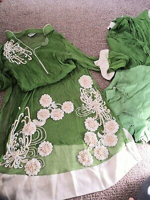 Chinyere By BAREEZE DELICATE CHIFFON LIME GREEN 3 PEICE OUTFIT TOP, SLIP & SCARF