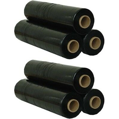 6 Rolls Black Pallet Stretch Shrink Parcel Packaging Wrap Roll Cling Film 400mm