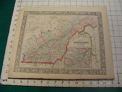 ORIGINAL Hand Colored 1860 Mitchell Map:15 1/4 x 12 1/2--CANADA EAST in counties