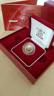 Royal Mint Uk 2003 Gold Proof Half Sovereign Coin, Encapsulated, Coa # 01908