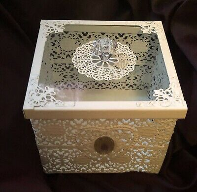 White Trinket Box Square Lace Shabby Chic Vintage Straits Mothers Day Gift
