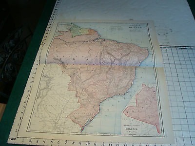 Vintage Original 1898 Rand McNally Map: BRAZIL GUIANA, 28 x 21""