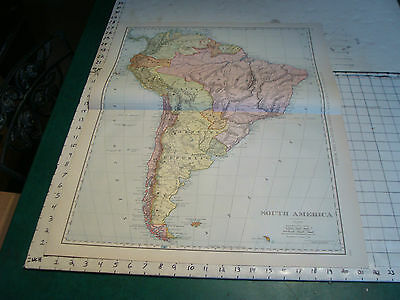 Vintage Original 1898 Rand McNally Map: SOUTH AMERICA, 28 x 21""