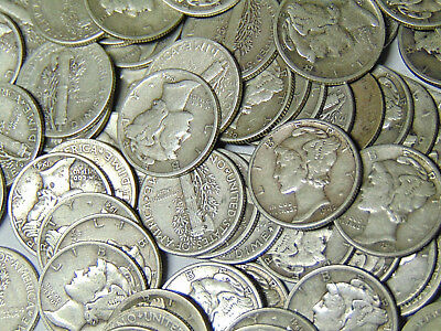 Roll of 50 Mercury Silver Dimes $5 Face Value 90% Silver 1941-1945 Dated Coins