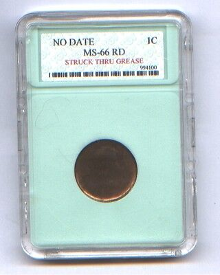Lincoln  Cent Struck Thru Grease * Obverse Affected * Reverse Fine * Neat Error