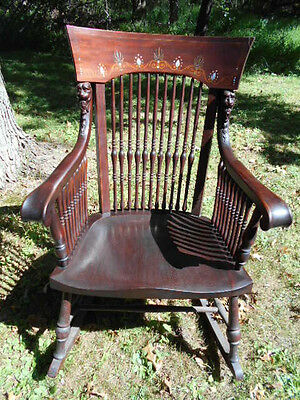 Antique Early 1900's Mahogany Mother of Pearl Inlaid Rocker/Highly Decorated