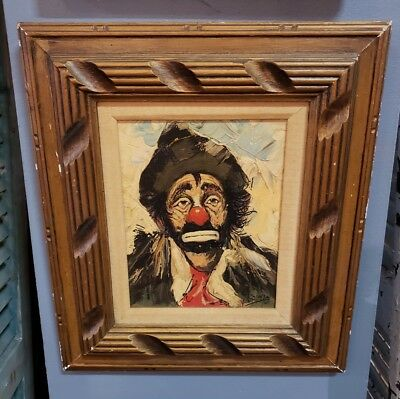 Louis Spiegel Framed Oil on Canvas Clown Painting. Pencil signed back.