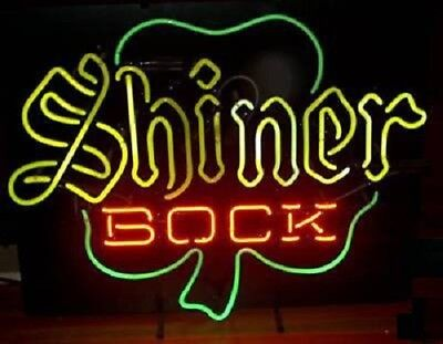 "New Shiner Bock Clover Texas Beer Bar Pub Light Lamp Neon Sign 24""x20"""