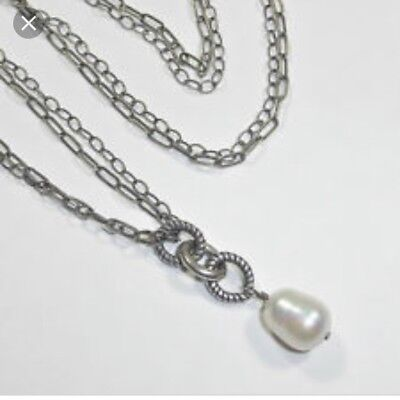 Silpada Sterling Silver Freshwater Pearl Necklace N1353 Toggle Signed POPULAR