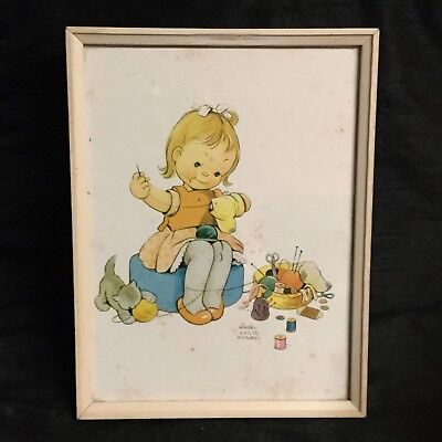 💕 Vintage Original 'Mabel Lucie Attwell' Framed Print 'The Busy Bee' 💕