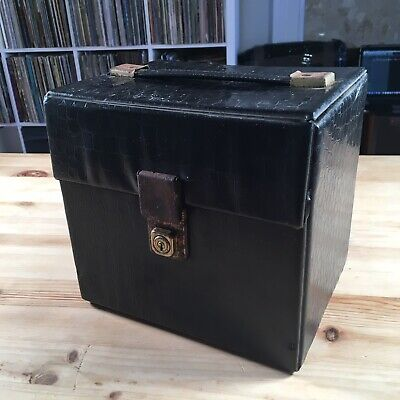 70s Vintage Retro 7 Inch Singles Vinyl Record Carry Case Storage Box Black W/Key