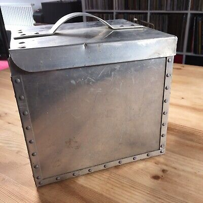 Vintage Retro Metal 7 Inch Singles Vinyl Record Carrying Case Storage Box