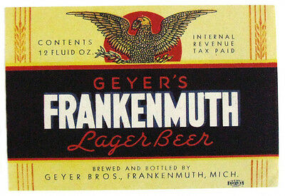 IRTP  Geyer Bros GEYER'S FRANKENMUTH LAGER BEER label MI 12oz