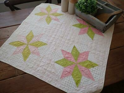 Beautiful Antique c1880s Pink & Green Star Farmhouse Table Crib Quilt 31x29