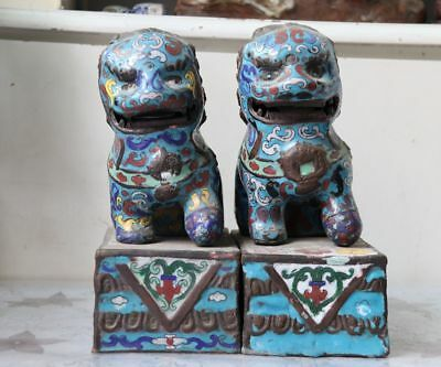 Chinese Old Copper Cloisonne Enamel Door Guardian Foo Fu Dog Lion Statue Pair