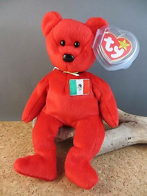 13fe33acb41 1999 Ty Beanie Babies Baby Osito Mexico Mexican Flag Toy Red Teddy Bear  132