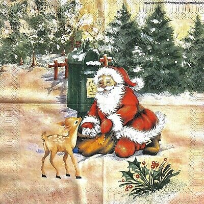 1x Rare napkin Avec Santa / bambi for collection, decoupage and other crafts