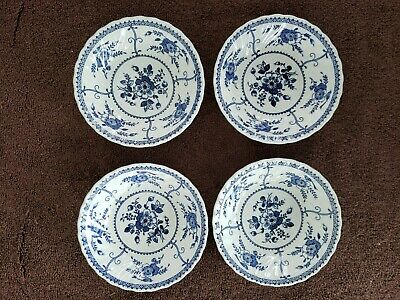 4 Vintage Johnson Brothers England INDIES Ironstone Dessert Bowls Blue and White