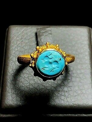 Original Antique Natural Turquoise Deer Fawn Intaglio Solid 22K Gold Crown Ring