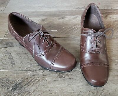 d54f9bd559b Clarks Bendables Brown Leather Lace up Oxford High Heel Brogue 62856 Size 8