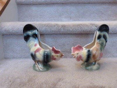 """OUTSTANDING PAIR of Royal Copely Ceramic Rooster Vase or Planters 8"""""""