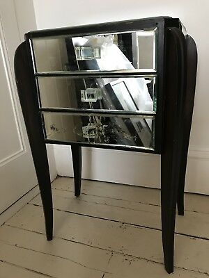 Very Pretty Antique Vintage Glass Mirror Bedside Table