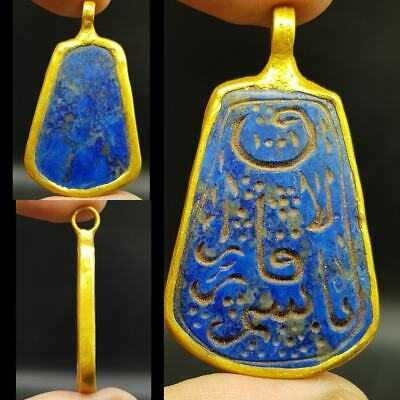 Ancient Islamic Writing Lapis lazuli stone made as gold plted pendant  #10R