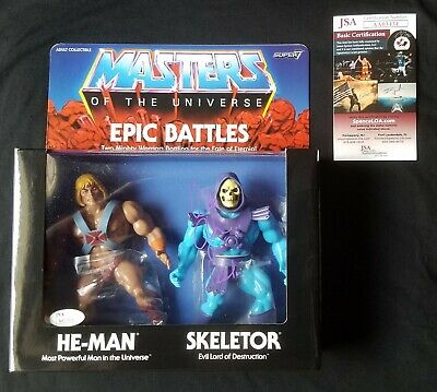 Super7 MOTU Masters of the Universe Epic Battles He-Man Skeletor Signed JSA