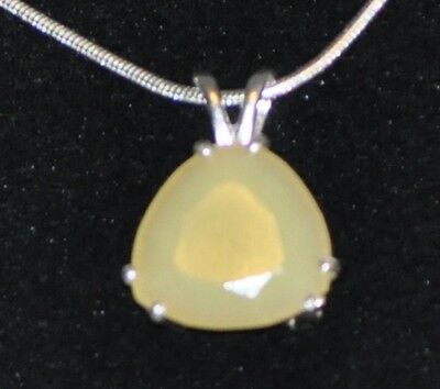 Beautiful 6.17 Ct  15Mm Trillion White Opal Pendant In Sterling Silver
