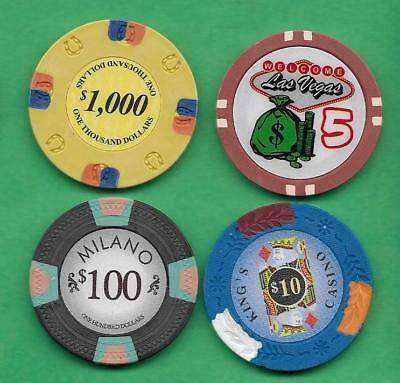 Lot of 4 Poker Chips Lucky Horseshoe, Las Vegas, Milano & King's Casino