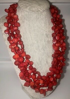 RED CORAL & Sterling Silver Multi Strand Beaded Necklace Signed LUC