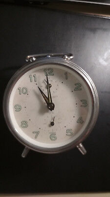 Peter_Rare Vintage_Silver_Hand Wind-Up_Mechanical_ Alarm Clock _Made In Germany