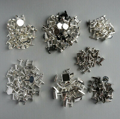 80 x Mix Assorted Cufflinks Blanks Round Square Oval Metal Silver Bezel Resin