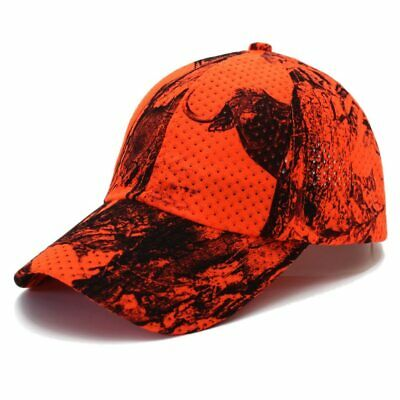 Mens Baseball Cap Tactical Orange And Army Green Camo Mesh Hats Hunting Fishing