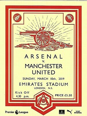 Arsenal v Manchester United Official Premier League Programme 10th March 2019