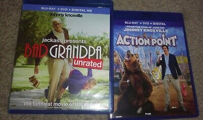 Bad Grandpa & Action Point blu-ray set Johnny Knoxville - no DVDs