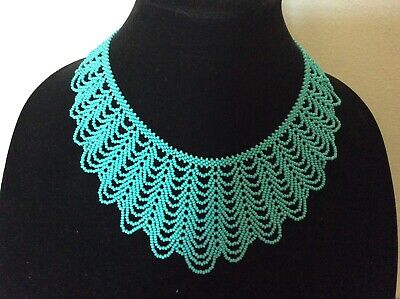 Vintage Turquoise Seed Bead Fancy Collar Necklace hand made