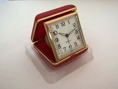 Vintage NEW EQUITY RED ALARM CLOCK - Clamshell Wind up Travel Clock with Packet