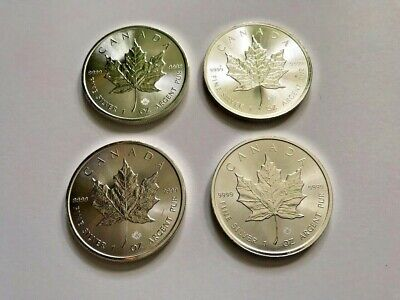 Lot of 4 $5 1oz Canadian Silver Maple Leaf Coins 2015, 2016 .9999 Fine Silver